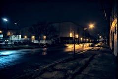 Paysage urbain industriel de Chicago la nuit photographie stock libre de droits
