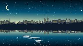 Paysage urbain la nuit près du lac illustration de vecteur