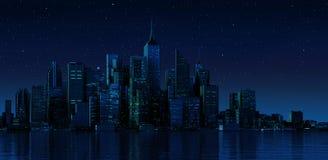 Paysage urbain moderne dans le nightime.   Image stock
