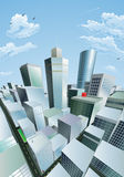 Paysage urbain moderne de district financier de centre de la ville illustration de vecteur