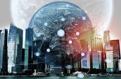 Paysage urbain monochrome de ville de Singapour, d'isolement sur le backg blanc Photos libres de droits
