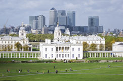 Paysage urbain naval royal R-U de Greenwich Londres d'université Image stock