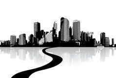 Paysage urbain noir et blanc Photo libre de droits