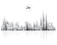 Paysage urbain noir et blanc avec polygone de bloc de pixel le bas Image stock