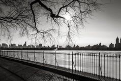 Paysage urbain noir et blanc en hiver - horizon de Manhattan - nouveau Yo photos stock