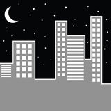 Paysage urbain par nuit Photos stock