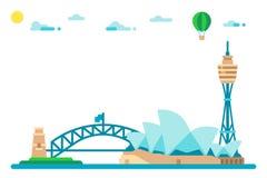 Paysage urbain plat de points de repère de Sydney de conception Photos stock