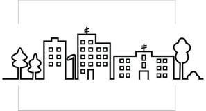 Paysage urbain, silhouette noire de ville, icône de vecteur illustration de vecteur