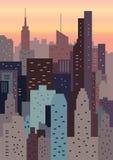 Paysage urbain sur l'illustration géométrique de coucher du soleil illustration de vecteur