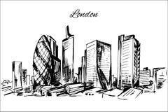 Paysage urbain tiré par la main de Londres Photographie stock