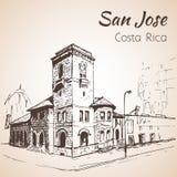 Paysage urbain tiré par la main du centre de San Jose Costa Rica croquis illustration stock
