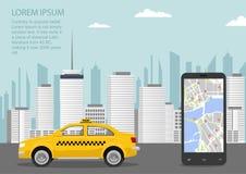 Paysage urbain urbain avec l'application de service de taxi, de smartphone et de taxi Illustration de vecteur dans le style plat Photos libres de droits