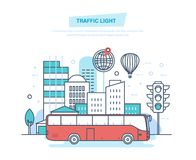 Paysage urbain, ville de rue, transport de ville, feu de signalisation traditionnel de rue illustration de vecteur