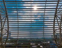 Paysage urbain vu par la fenêtre à Changhaï Photographie stock