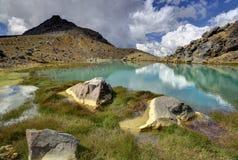 Paysage vert de lac, parc national de Tongariro photographie stock libre de droits