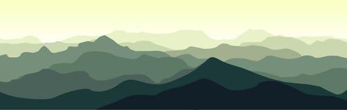 Paysage vert de montagne pendant le matin d'été Illustration de Vecteur