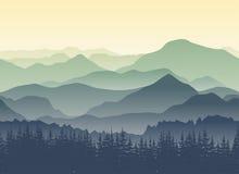 Paysage vert de montagnes en été Fond sans couture illustration stock