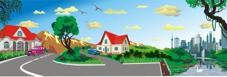 Paysage - village rural à l'étang, vecteur de panorama image stock