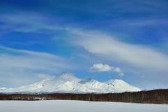 Paysage volcanique de bel hiver Photos libres de droits