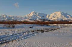 Paysage volcanique de bel hiver Images stock