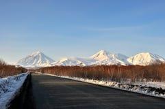 Paysage volcanique de bel hiver Photos stock