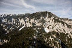 Paysages d'hiver au-dessus des montagnes carpathiennes Images stock
