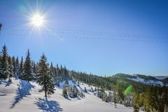 Paysages d'hiver en Roumanie photographie stock libre de droits
