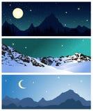 Paysages de montagne de nuit Ensemble de vecteur illustration stock