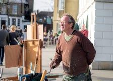 Paysages de rivière de peinture d'artiste Photos libres de droits