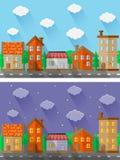 Paysages de ville Conception plate Photographie stock