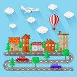 Paysages de ville Conception plate Photo stock