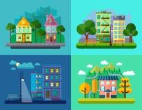 Paysages plats d'urbains et de village illustration libre de droits
