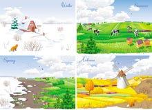 4 paysages saisonniers Images libres de droits