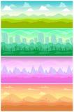 Paysages sans couture de vecteur coloré réglés Illustration de Vecteur