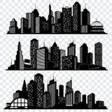 Paysages urbains, bâtiments d'horizon de ville, grand ensemble de vecteur de silhouettes de ville illustration de vecteur