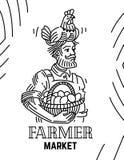 Paysan avec la poule sur sa tête et panier avec des oeufs illustration de vecteur