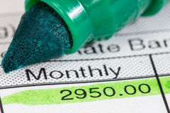Payslip with monthly wage Stock Photo