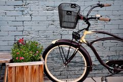 Payson Bicycle. An older model bicycle parked in front of an old brick wall Stock Images