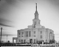 Payson Utah Temple in black and white Stock Photos