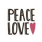 Paz, amor, con el corazón Ejemplo de las letras de la mano aislado en blanco Plantilla para la tarjeta de felicitación, el cartel Fotos de archivo libres de regalías