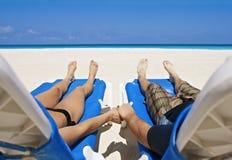Paz, amor y tranquilidad en una playa aislada Imágenes de archivo libres de regalías