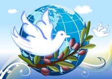 Paz ao mundo com pombas brancas ilustração do vetor