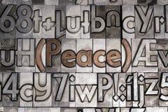 Paz con el tipo movible impresión Foto de archivo