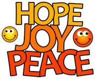 Paz de la alegría de la esperanza Imágenes de archivo libres de regalías