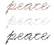 Paz de la palabra escrita en alambre de púas Fotos de archivo libres de regalías