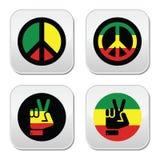 Paz de Rasta, iconos del gesto de mano fijados Foto de archivo