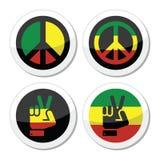 Paz de Rasta, iconos del vector del gesto de mano fijados Fotos de archivo