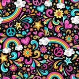 Paz do arco-íris e teste padrão Groovy sem emenda Vec do amor Foto de Stock
