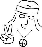 Paz Dude/ai do Hippie dos desenhos animados Imagem de Stock Royalty Free