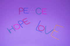 Paz, esperanza, amor Fotos de archivo